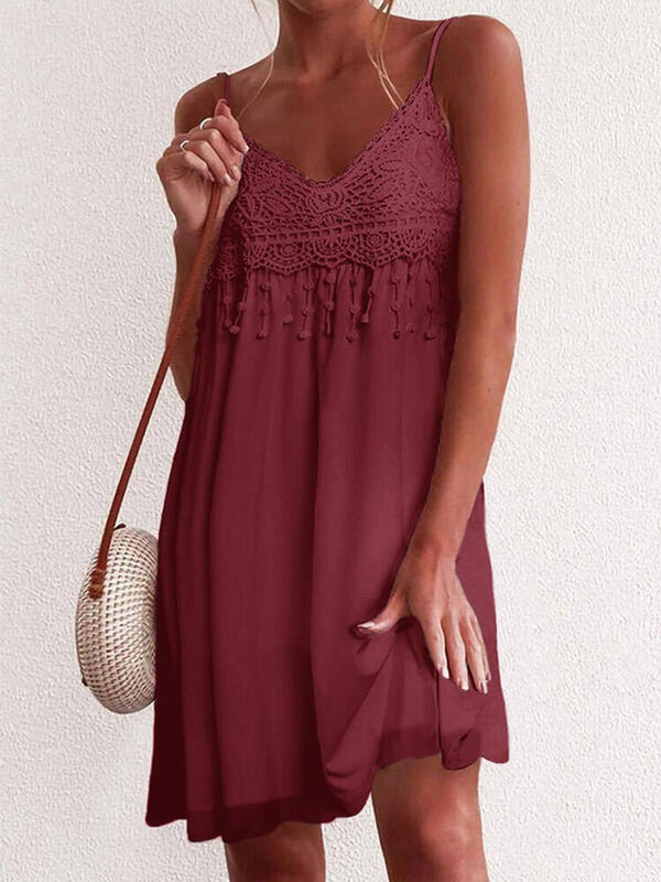 Women's Solid Color Lace Halter Sleeveless Dress