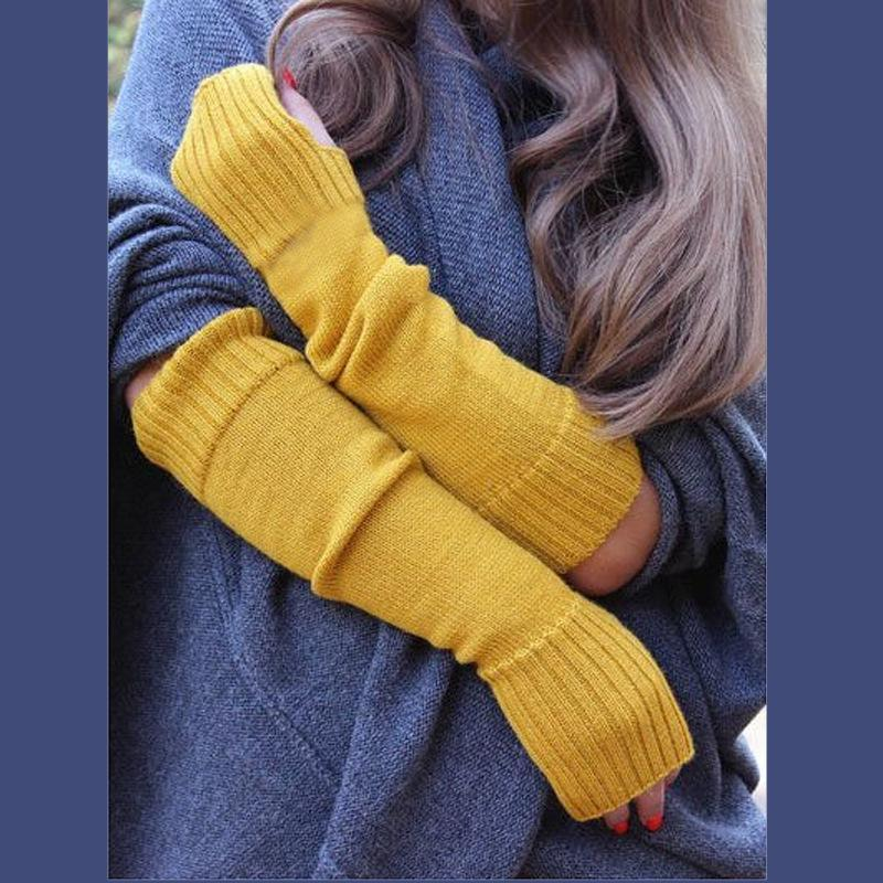 Solid Color Woolen Gloves with Arms