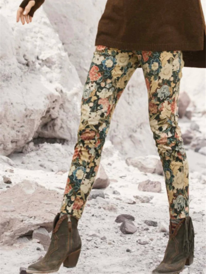Floral Print Elastic Leggings Slim Casual Bottoming Pants