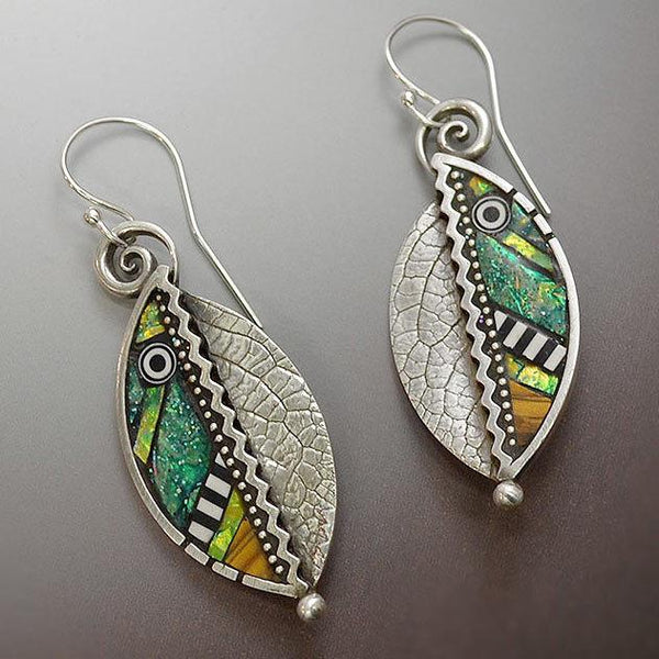 Abstract Iridescent Green Leaf Earrings