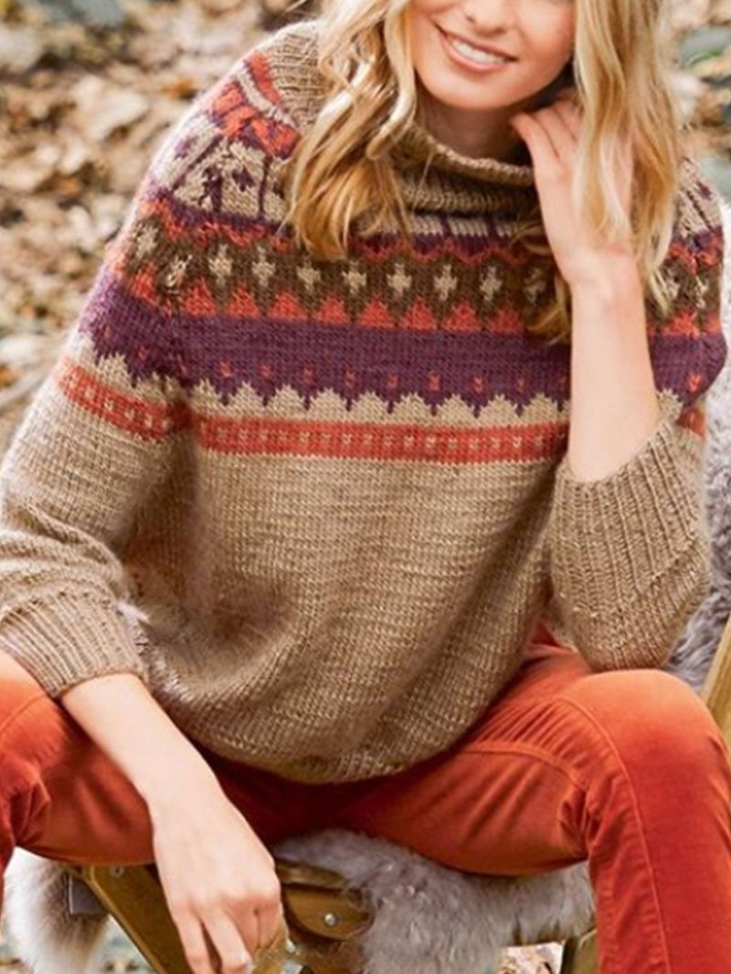 Fall and Winter Turtleneck Floral Clashing Sweater Tops