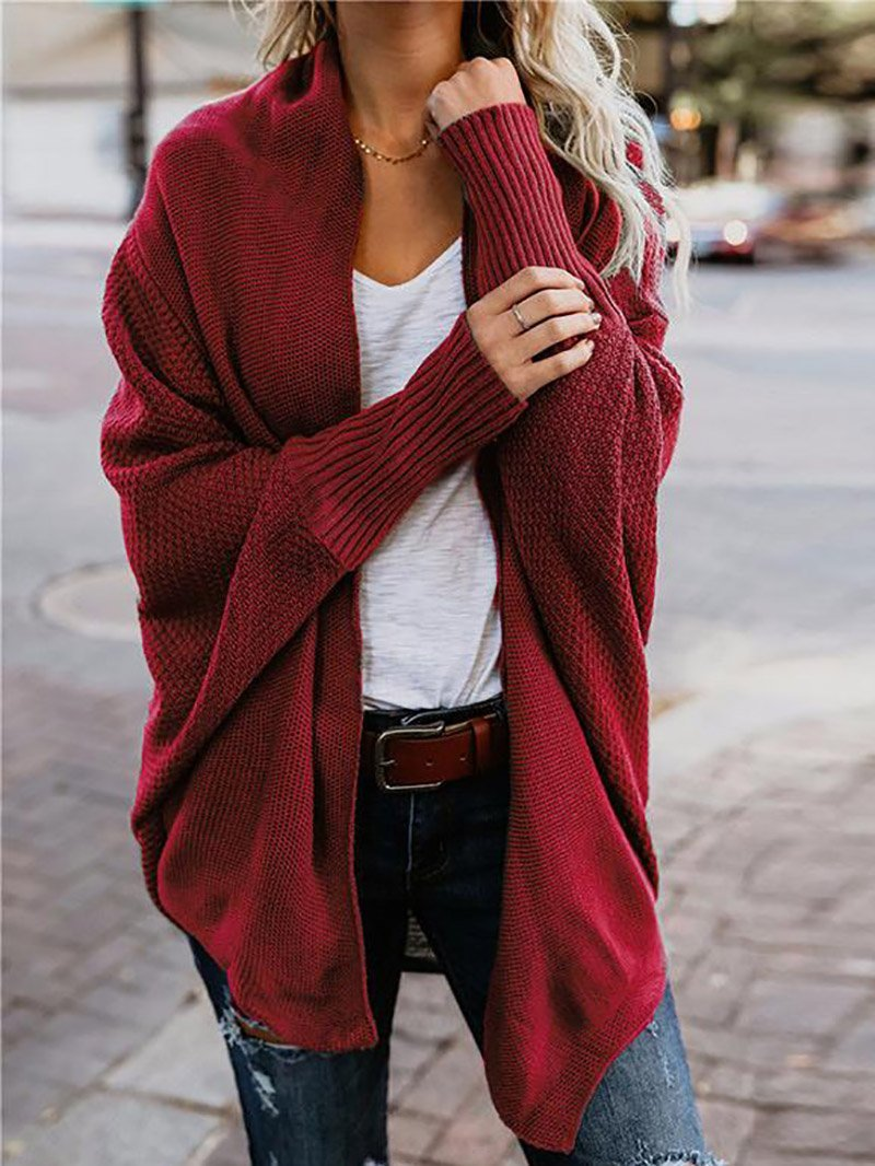 Women's Oversized Bat Sleeve Knitted Cardigan Sweater Jacket
