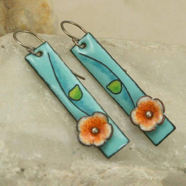 Vintage Floral Enamel Earrings