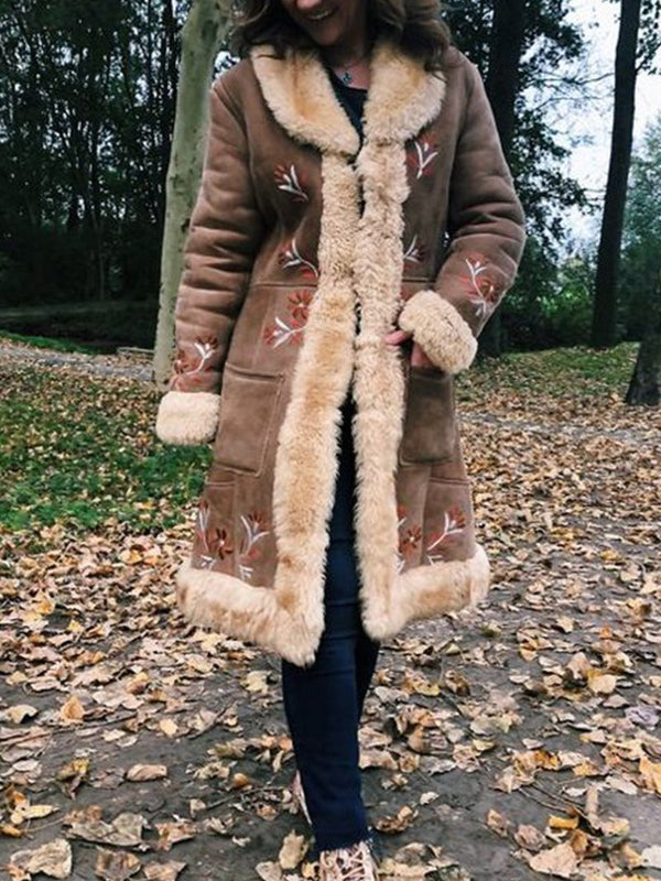Fashion Printed Deerskin Velvet Vintage Fur Collar Coat