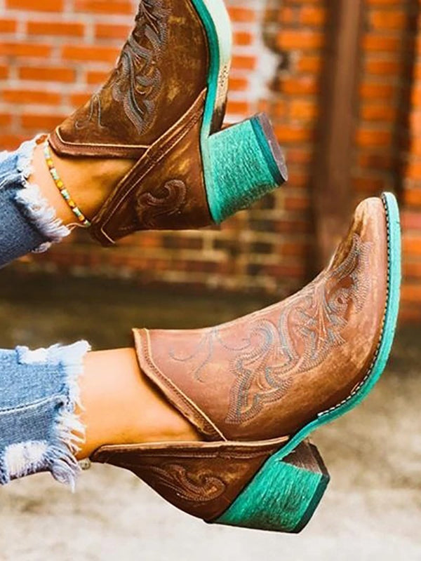 Western Style Boho Embroidered Ankle Shoes