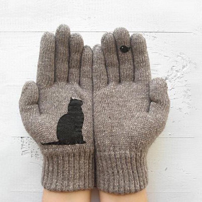 Kitty Bird Printed Gloves In Autumn and Winter
