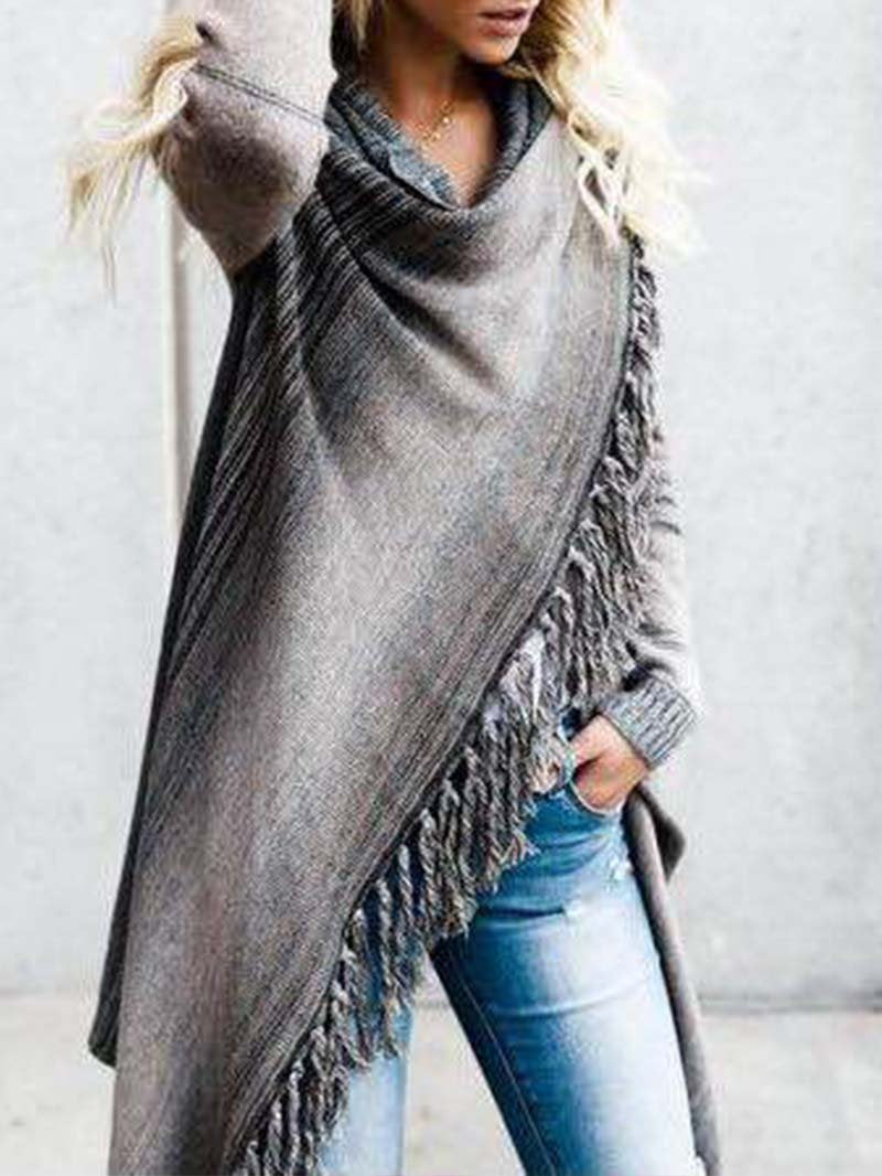 Mid-length Fringe Striped Jacket Sweater