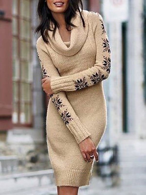 Women's Snowflake Print Turndown Collar Knitted Sweater Dress