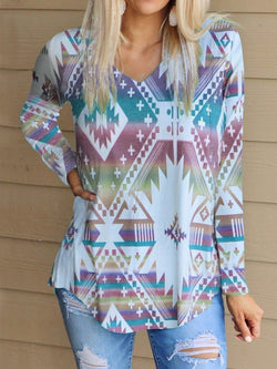 Fashion Gradient Color Print Long Sleeve Top