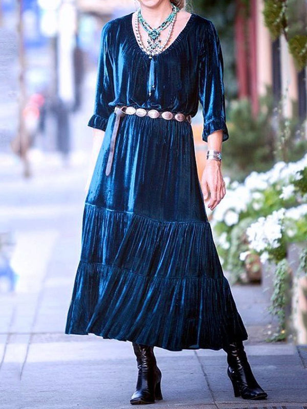 Velvet 7-Part Sleeve Large Skirt Dress