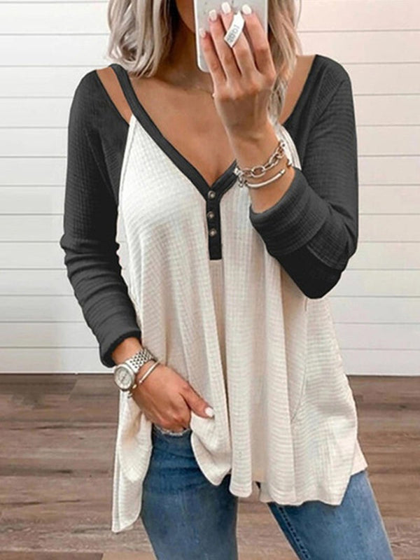 Women's V-neck Color Blocking Shoulder Tops