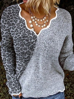 New Casual Leopard Print Color-blocking Printing Irregular V-neck Knitted Tops