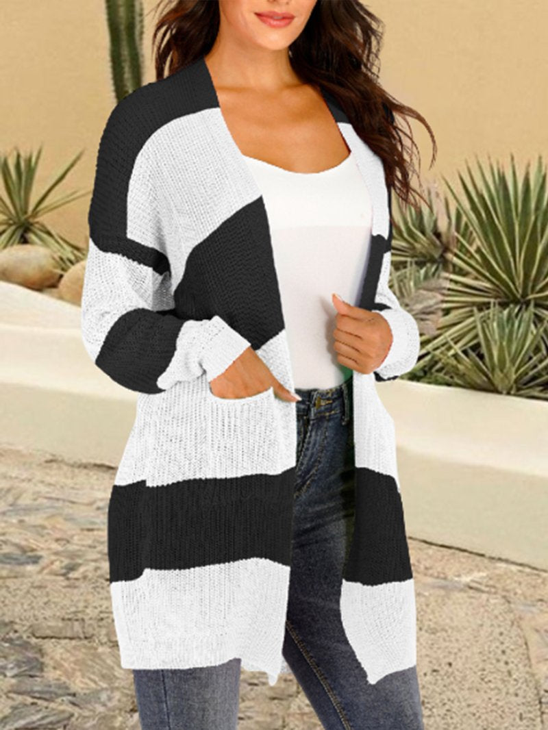 Women's Plus Size Knitted Striped Stitching Mid-length Sweater