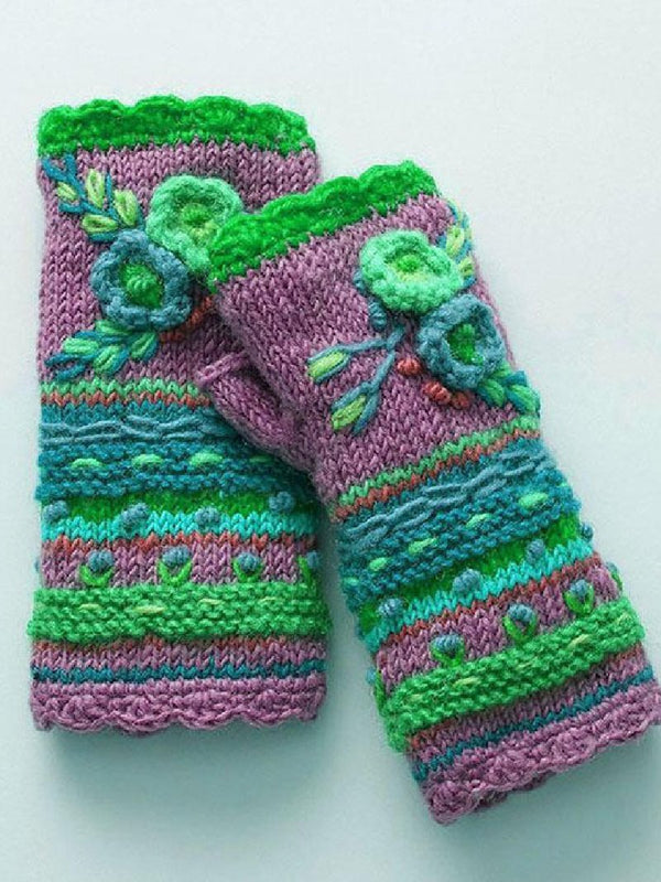Winter New Style Crocheted Half-finger Warm Gloves