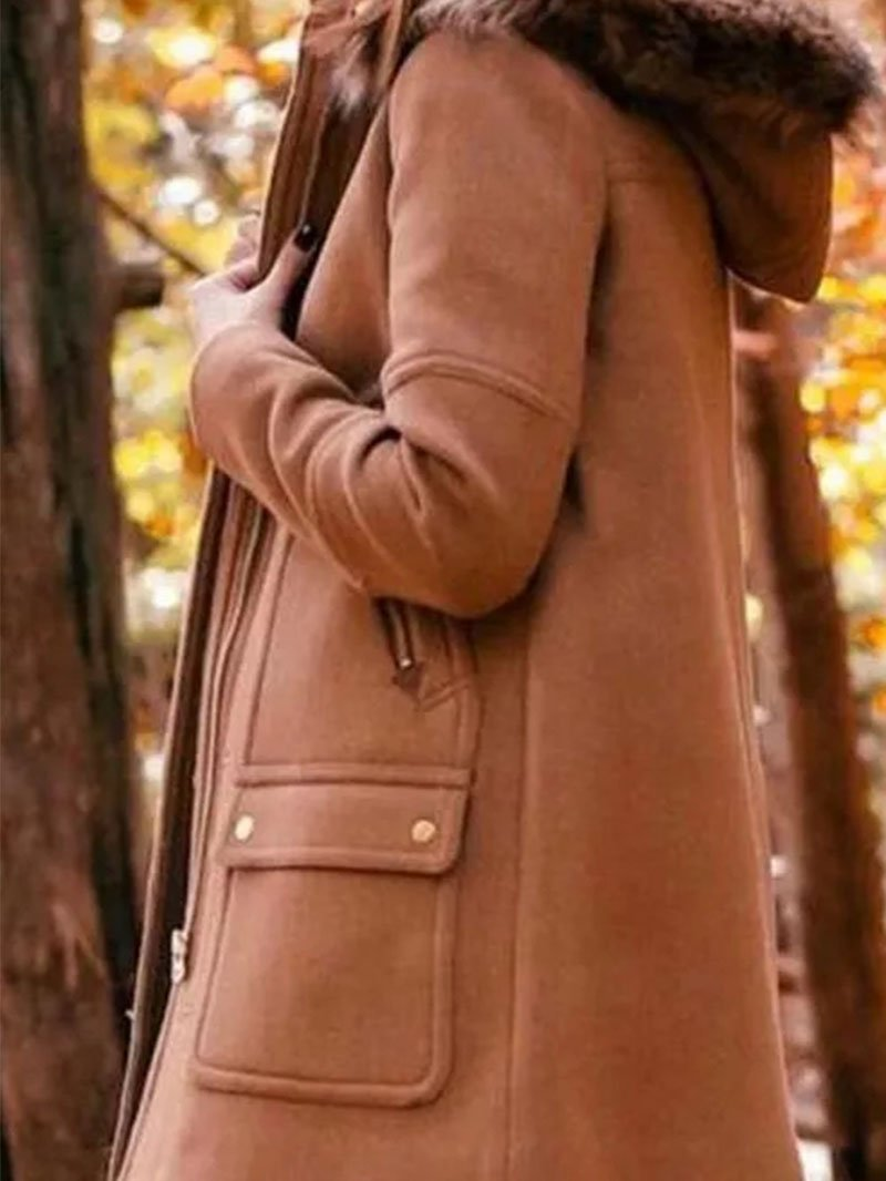 Autumn Winter Hooded Tweed Pocket Long Sleeve Coat
