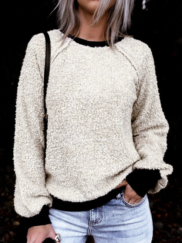 Solid Collared Casual Wool Sweatshirt for Fall/Winter
