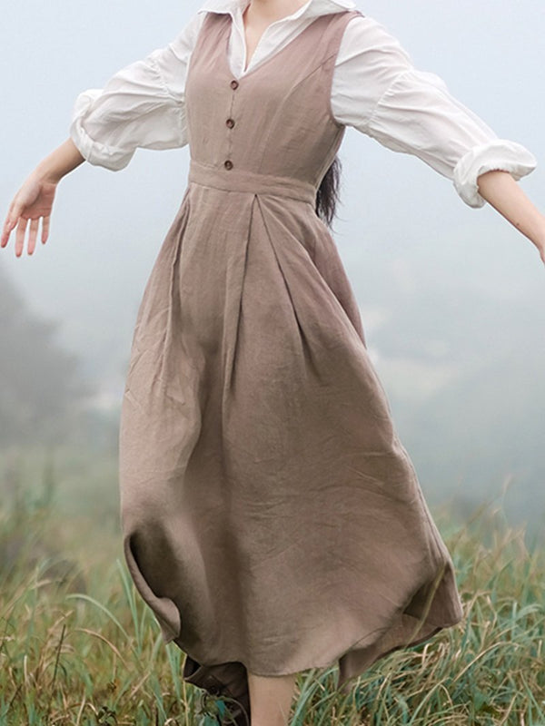 Retro and Elegant Pastoral Court Cotton and Linen Dress