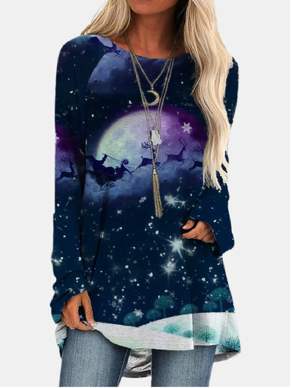 Casual Loose Round Neck Colorful Starry Digital Printing Long-sleeved Top