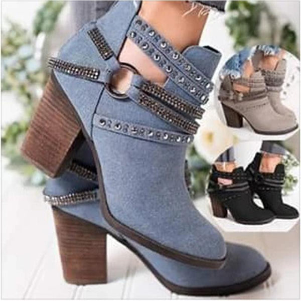 Women's Boots with High Heel and Thick Heel and Low Tube Rivet