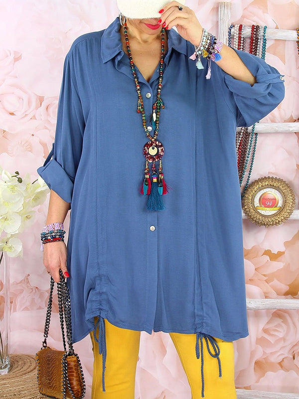 Solid Color Loose Casual Long Sleeve Shirt