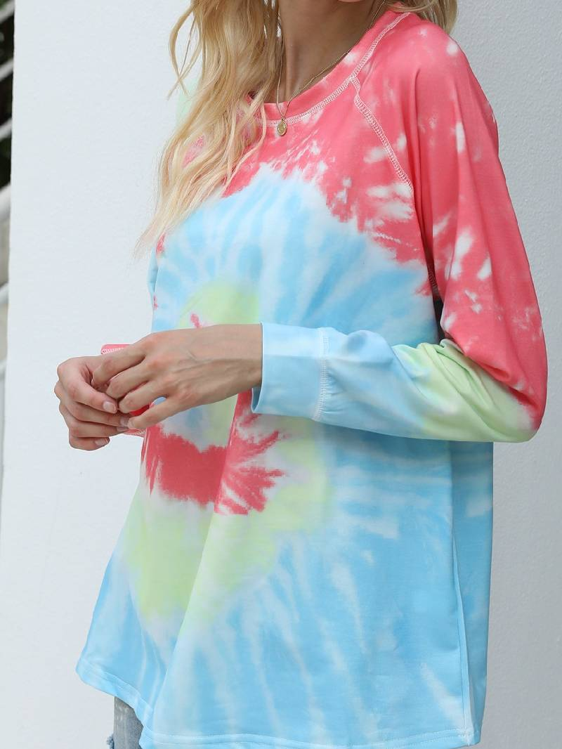 Loose Tie-dye Printed Round Neck Long Sleeve Sweater