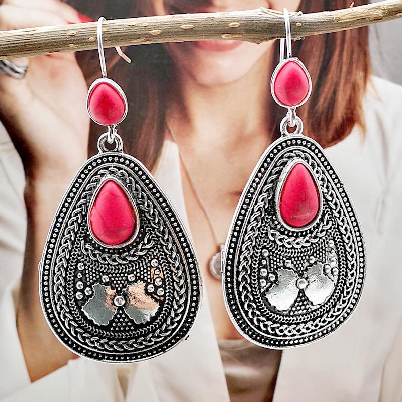 Ethnic Style Red Pine Gem Exaggerated Earrings