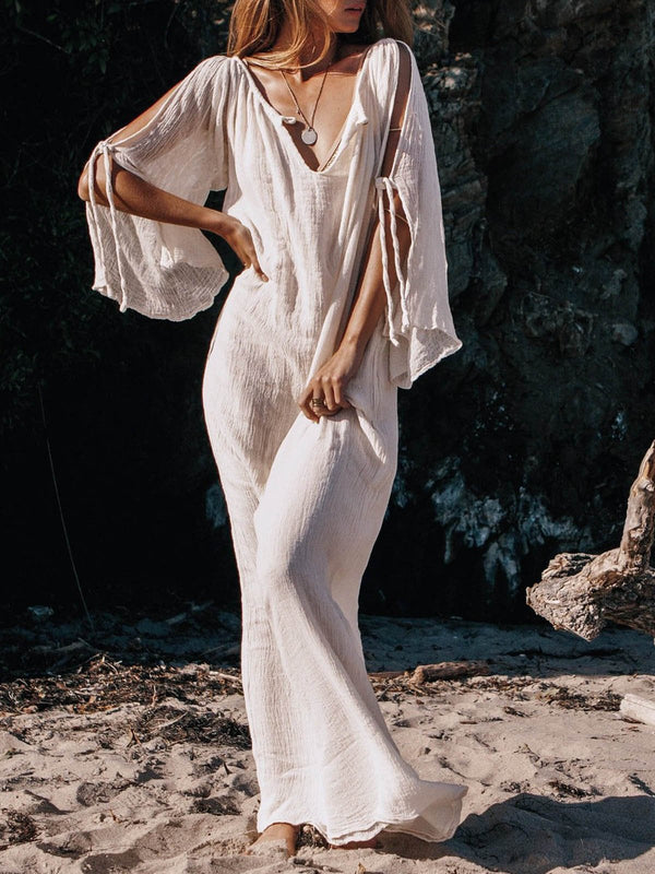 Off-the-shoulder long-sleeved bohemian dress