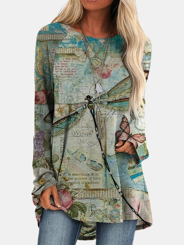 Fashion Loose Dragonfly Print Long Sleeve Top