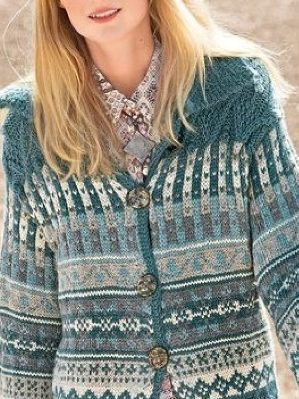 Casual Lapel Long-sleeved Knitted Sweater Coat