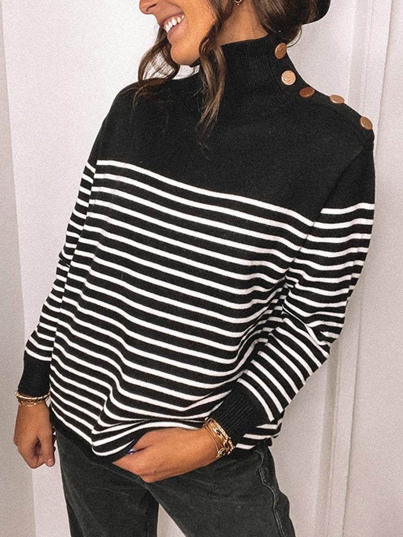 Women's Striped Turtleneck Knit Pullover Sweater