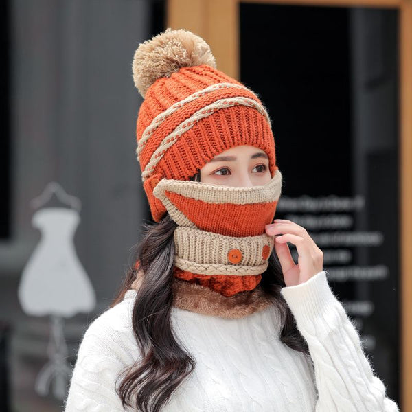 Three-piece All-match Knitted Hat Mask and Scarf