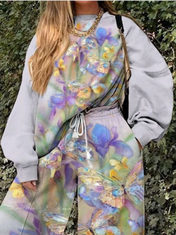 Butterfly Print Sweatshirt Suit