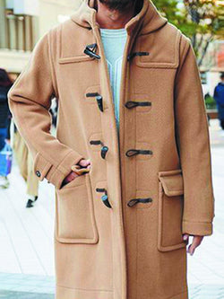 Men's Solid Color Horn Button Hooded Woolen Coat