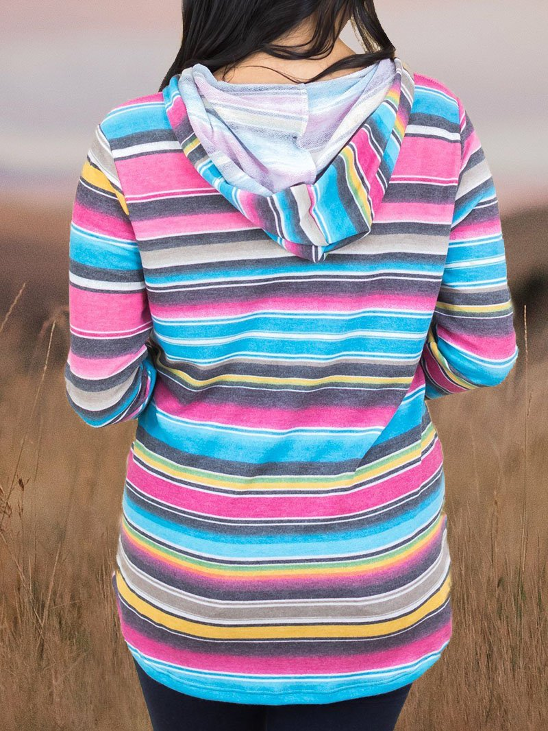 Western Stripe Graphic Print Hooded Sweatshirt Tops