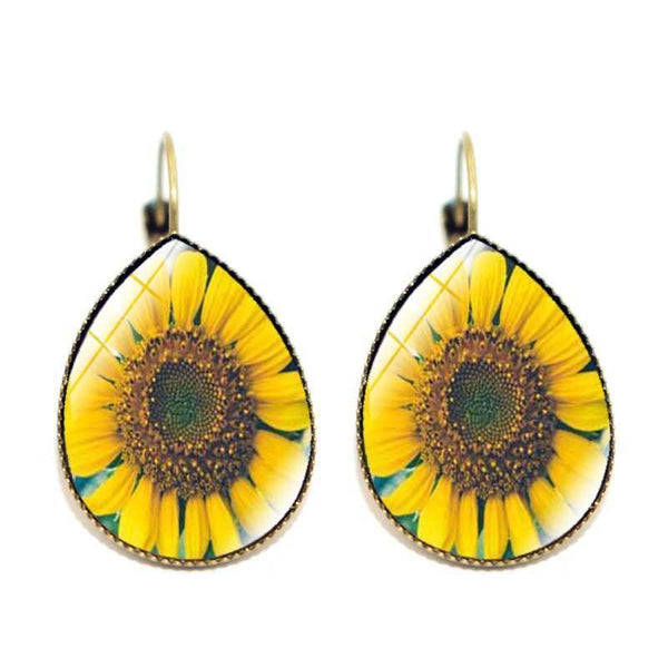 Sunflower Time Jewel Drop Earrings Retro French