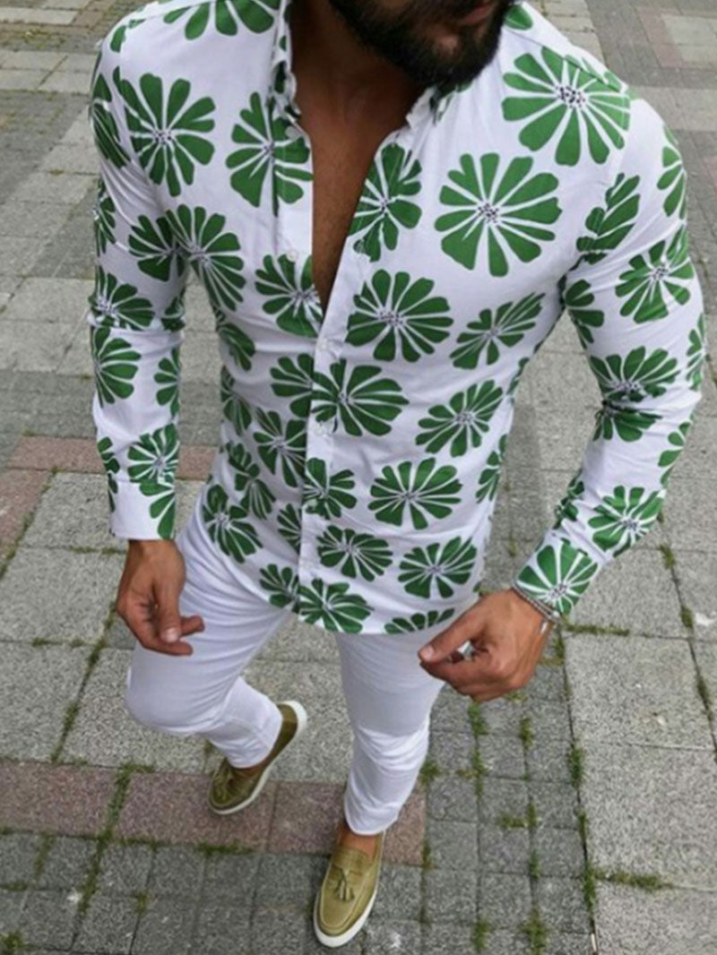 Fashion Men's Casual Printed Color Shirt