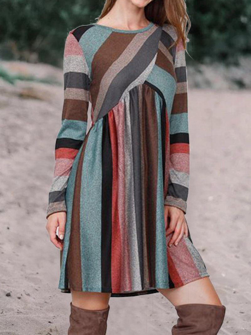 Colorful Striped Casual Dress
