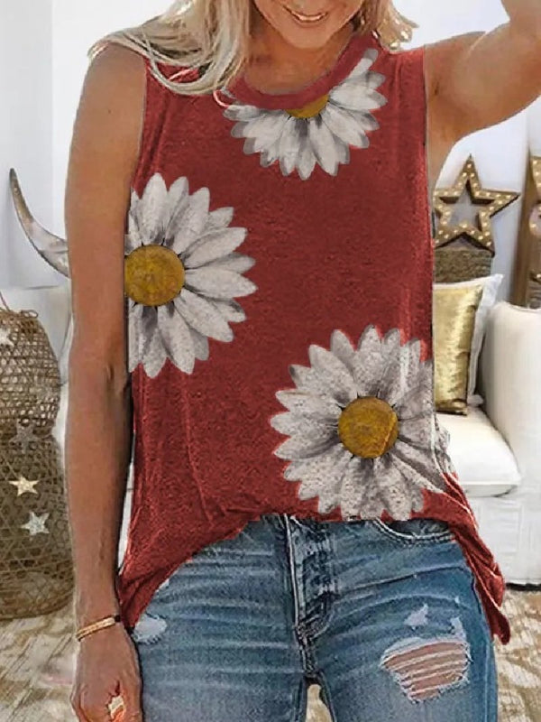 Plus Size Casual Sleeveless Crew Neck Floral Print Top