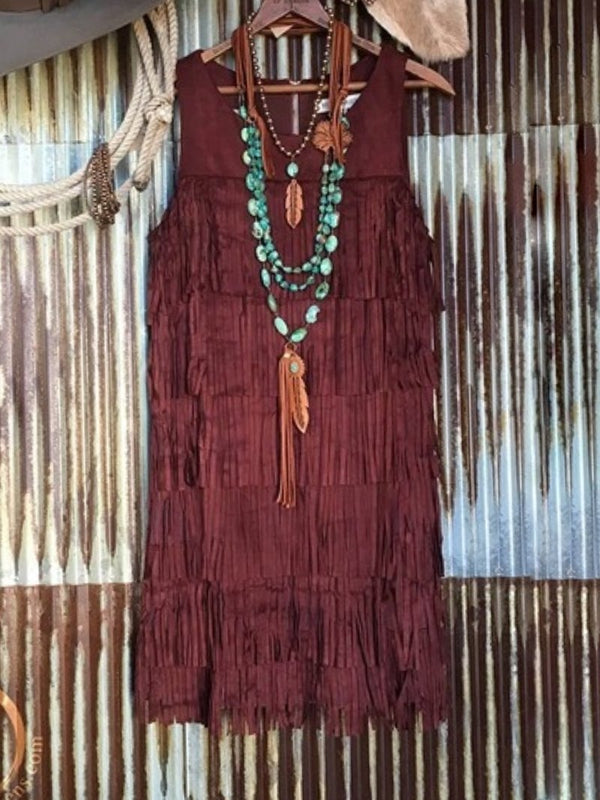Vintage Solid Fringed Sleeveless Dress
