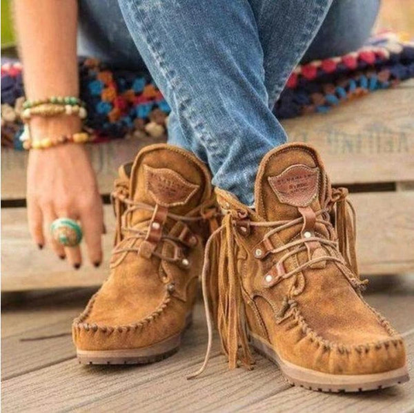 Women's Tassel Lace Up Boots