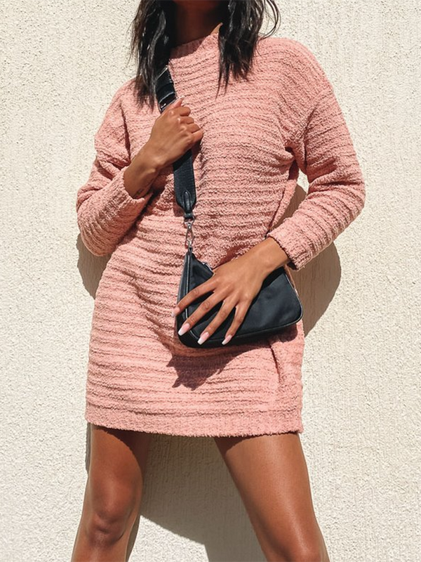 Solid Color Sweater Dress
