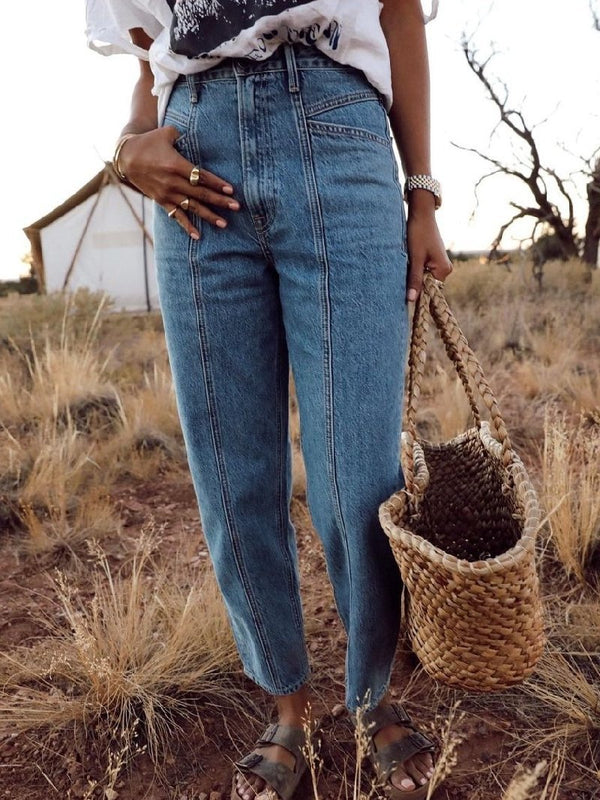 Retro Denim Solid Pocket Pants