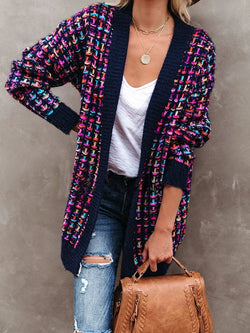 Gradient Check Knit Jacket Sweater