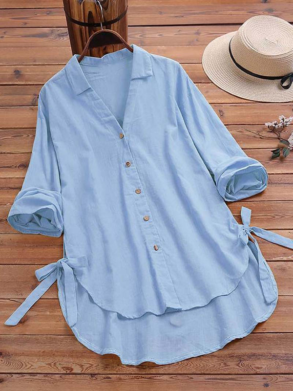 Cotton and Linen V-neck Long Sleeve Tops Blouse