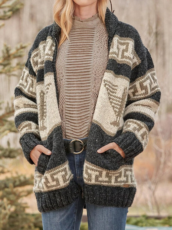 Women's Casual Geometric Sweater Jacket