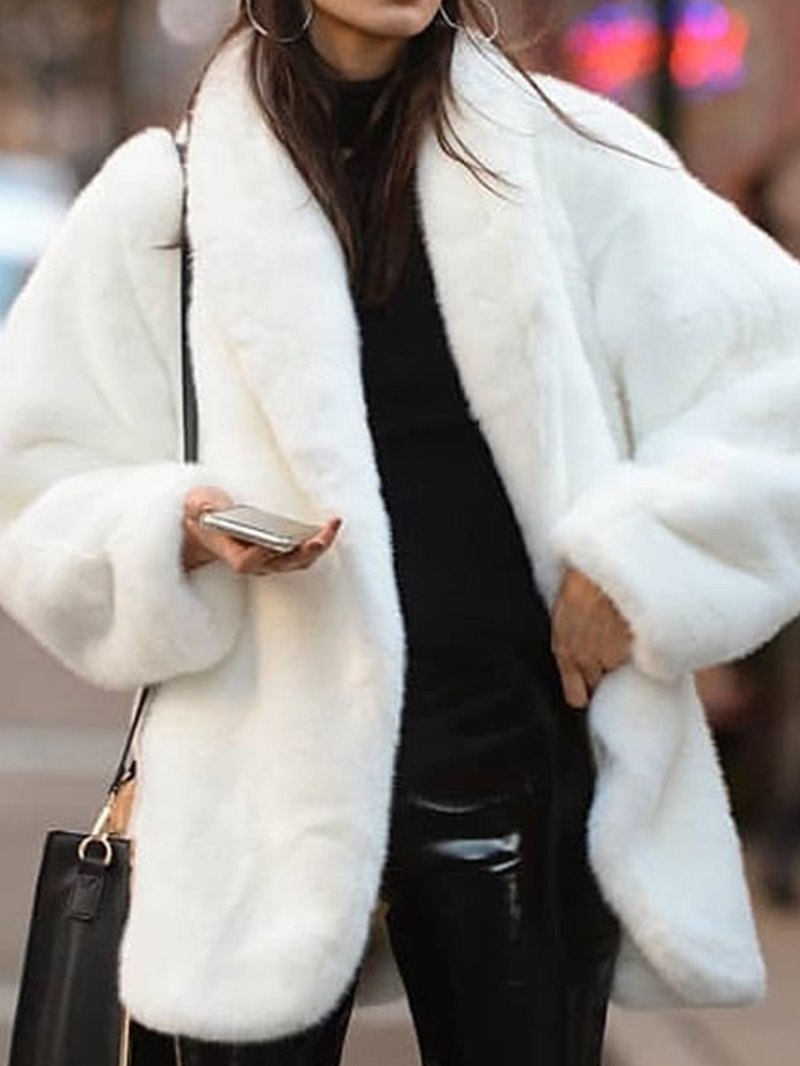 Women's Environmental Protection Faux Fur Coat with White Fur Coat