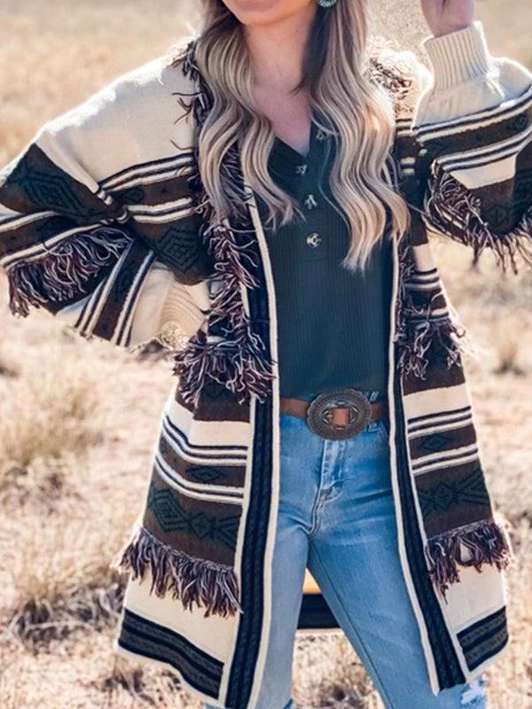 Western Geometric Color Blocking Casual Fringe Sweater Jacket