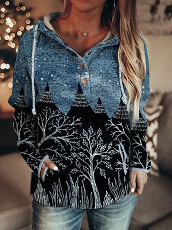 Landscape Printing Loose Hooded Long-sleeved Fashion Sweater Sweater