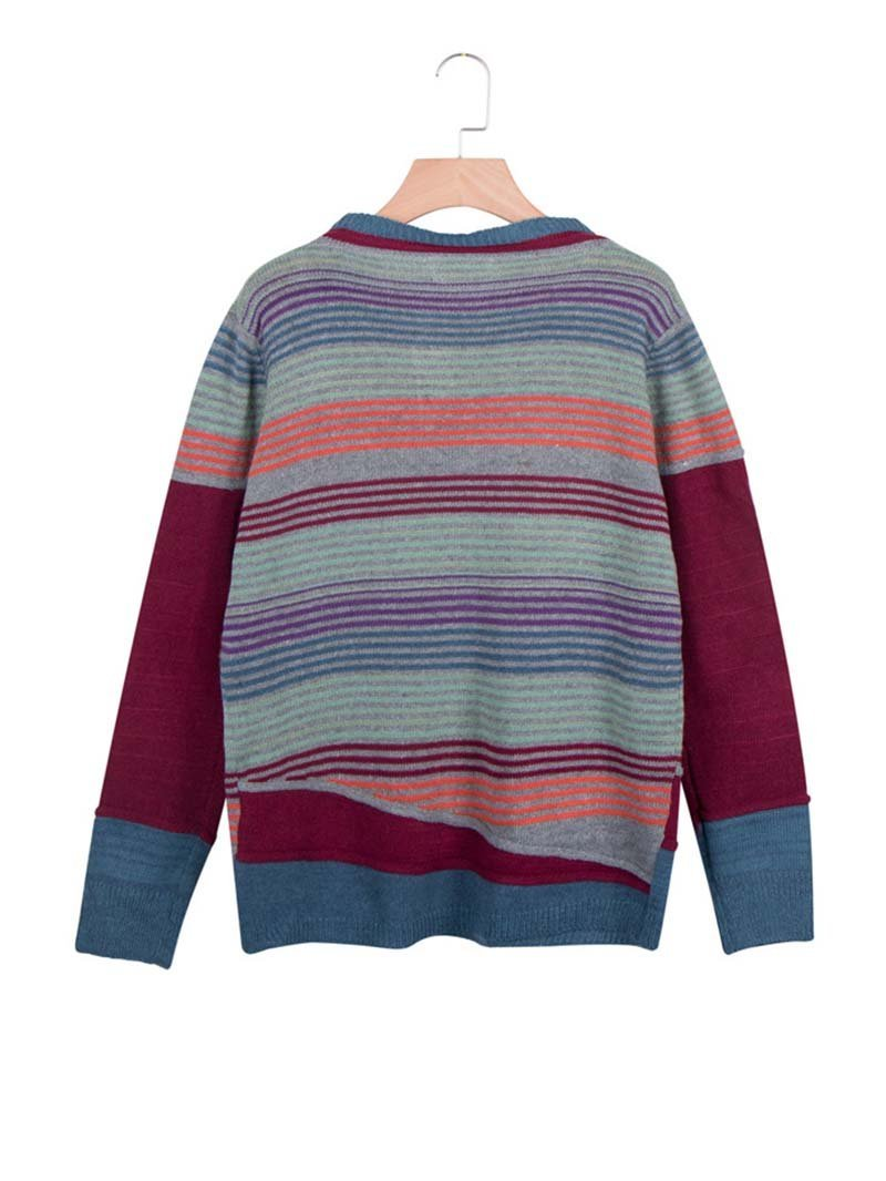 Striped Color Block Loose Long-sleeved Sweater