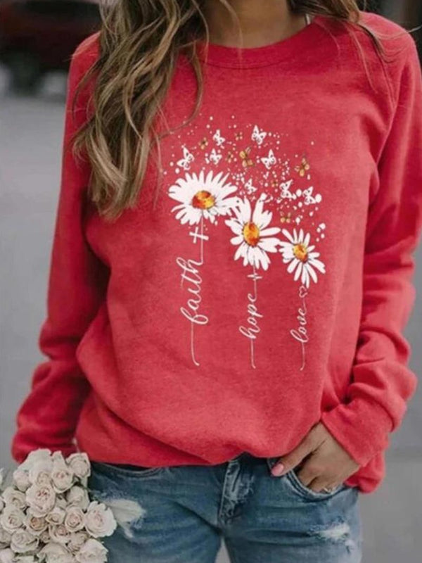 Long Sleeve Round Neck Printed Casual Sweater